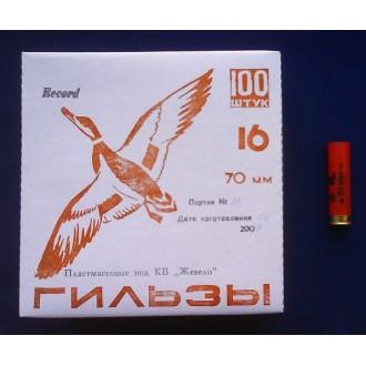 Гильза п/э Record 16 калибра калибра для снаряжения патронов 70мм, низк.осн., под жевело, (упак. 100)